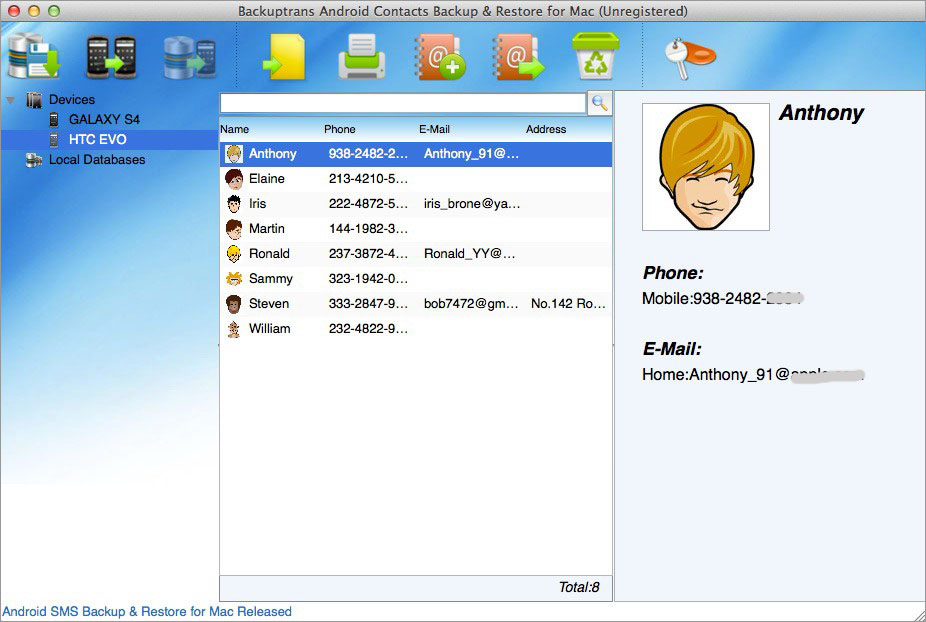 Android Contacts Backup & Restore for Mac Screenshot