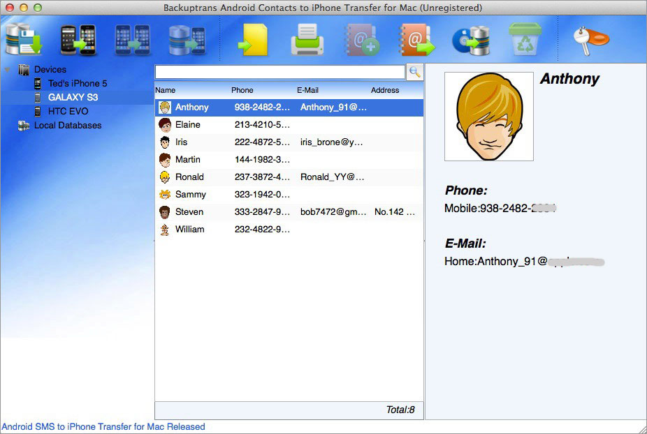 Android Contacts to iPhone Transfer for Mac Screenshot