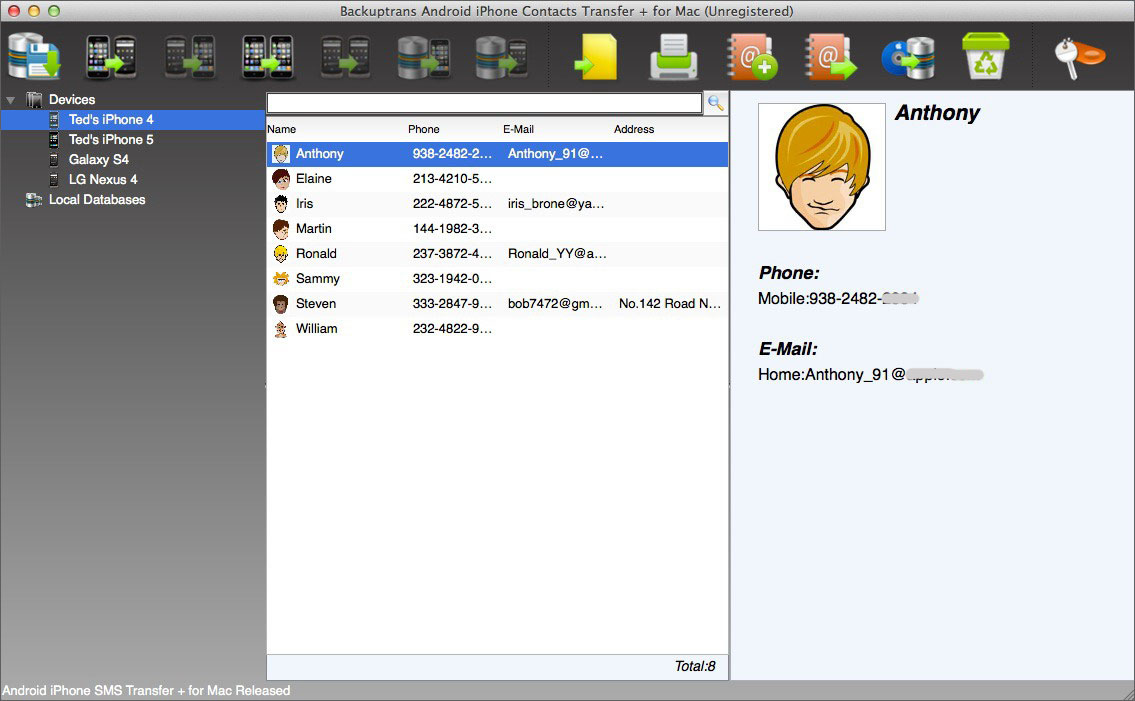 Android iPhone Contacts Transfer + for Mac Screenshot