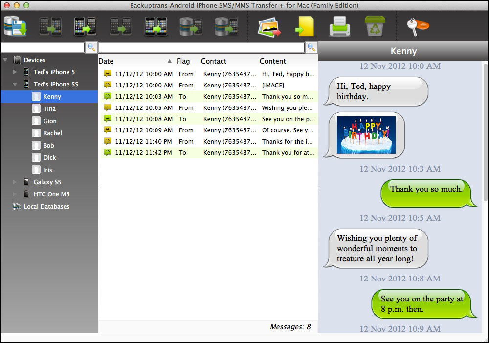 Backuptrans Android iPhone SMS/MMS Transfer + for Mac Screenshot