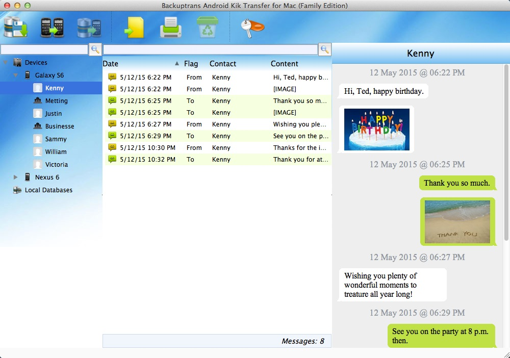 Backuptrans Android Kik Transfer for Mac
