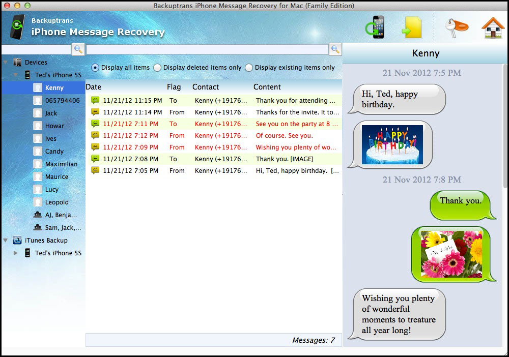 iPhone Message Recovery for Mac full screenshot