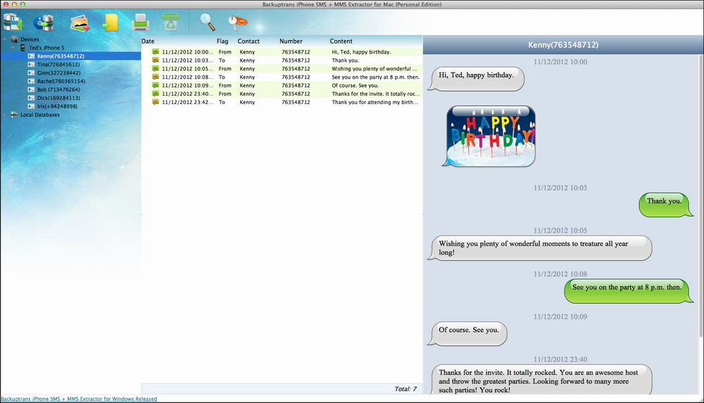 iPhone SMS + MMS Extractor for Mac