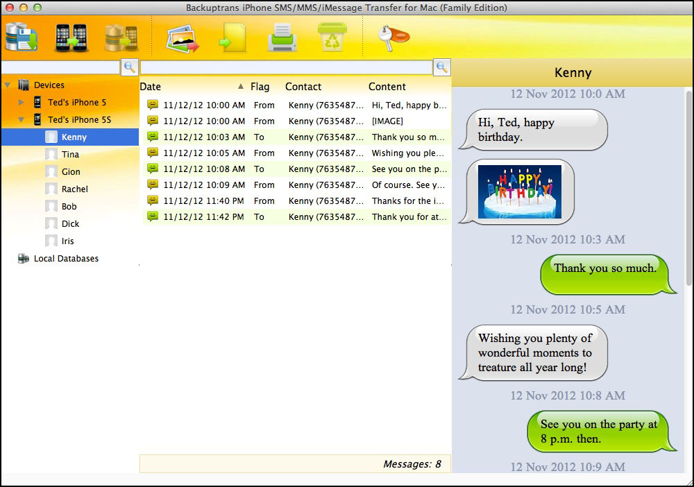 iPhone SMS MMS iMessage Transfer for Mac