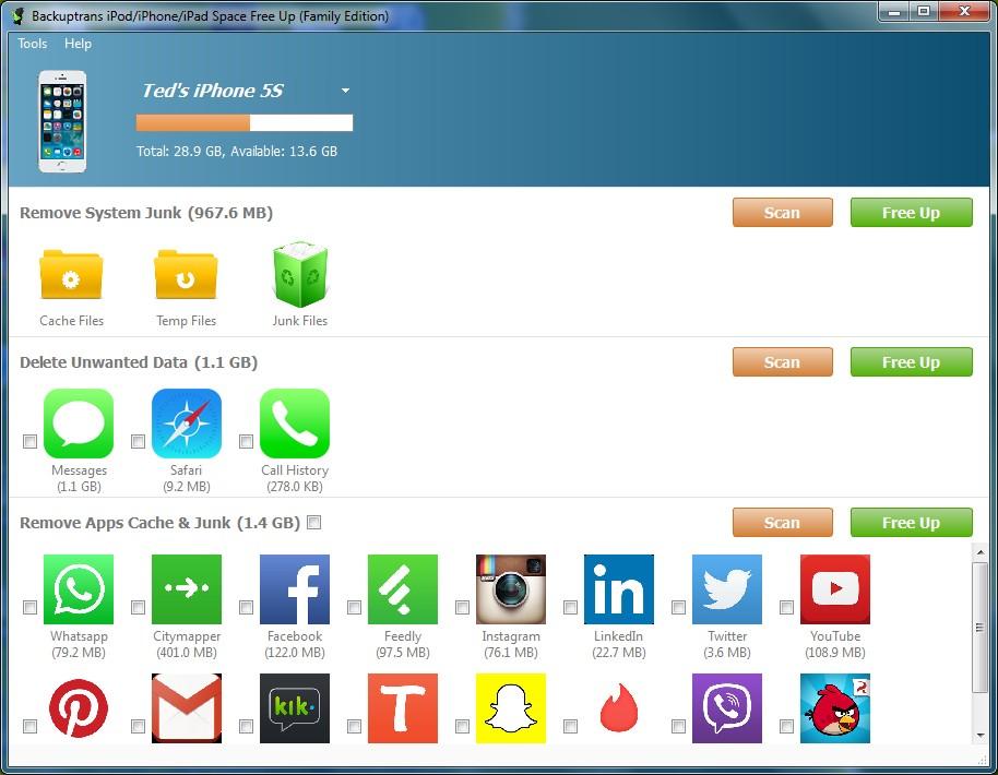 iPod/iPhone/iPad Space Free Up full screenshot
