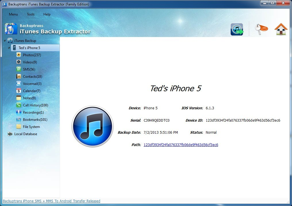 Recover and Extract Data from iTunes Backup