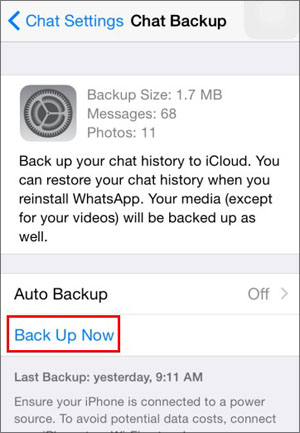 Backup chat to iCloud