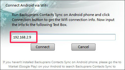 Connect Android to PC via WiFi for Messages Transfer