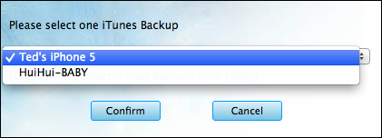 choose an iTunes backup to copy iPhone SMS and MMS
