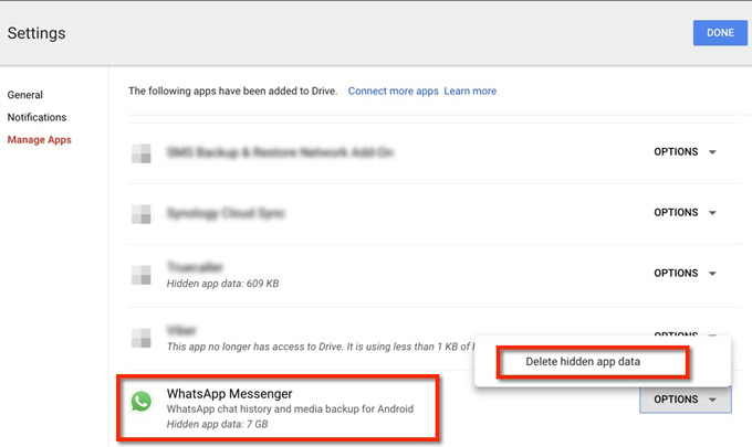 disconnect whatsapp messenger from google drive