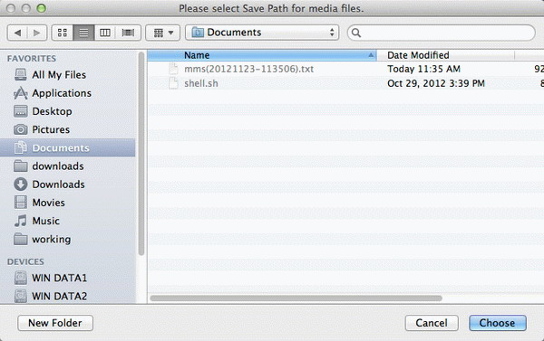 Extract attachments in MMS messages from iPhone on Mac - save path