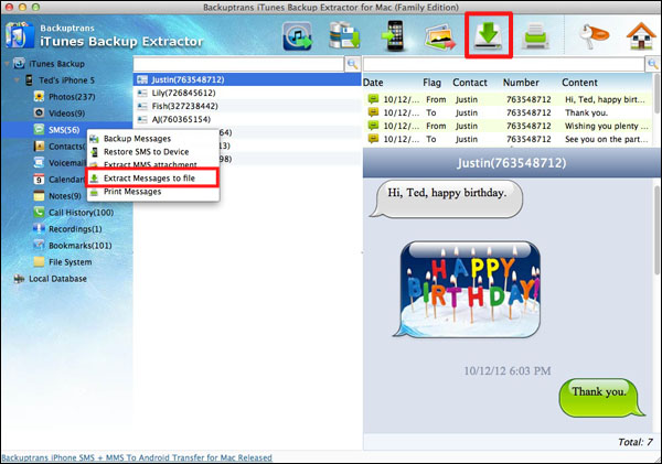 Extract SMS messages/contacts/notes/calendar events/safari bookmarks From iTunes Backup on Mac