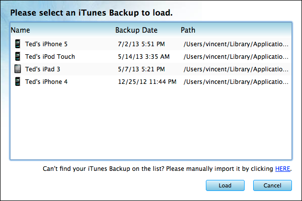 Recover iPod iPad iPhone deleted Data From iTunes Backup on Mac -  Load