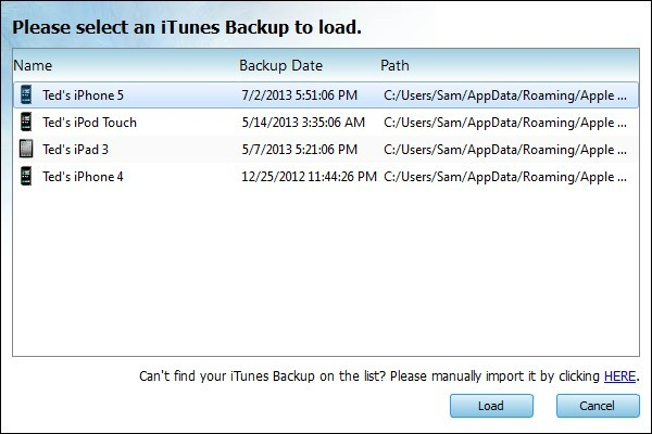 Load encrypted iTunes backup files to extract and recover