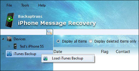 Load SMS MMS iMessage from iTunes Backup
