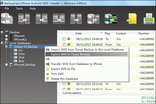 Transfer Android SMS to iPhone with iOS 6