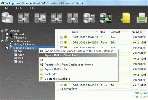 Transfer SMS from iPhone to iPhone with iOS 6
