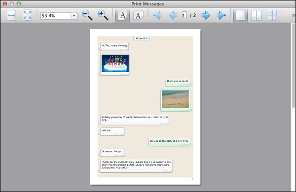 Preview before Printing iPhone WhatsApp Messages