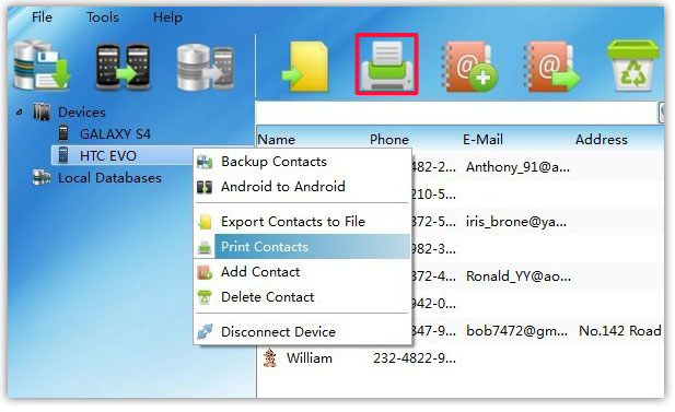 print all Android Contacts from PC