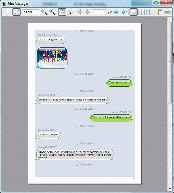 print Android SMS and MMS on computer - preview
