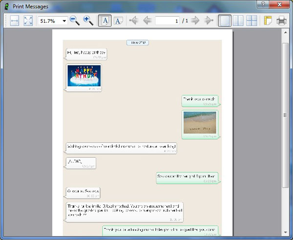 Preview before Printing iPhone WhatsApp Conversations
