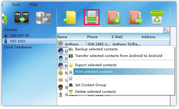 print selected Android Contacts from PC