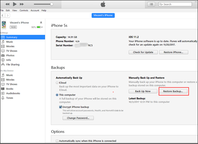Restore SMS from computer to iPhone with iOS 6