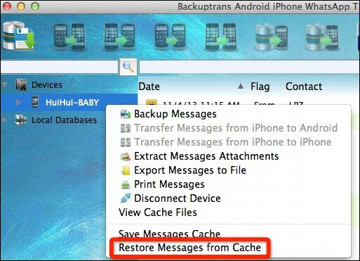 Restore messages from Cache
