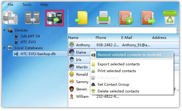 restore selected Android Contacts from backup on PC