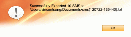 transfer iPhone SMS to file on Mac successfully