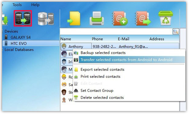 transfer selected Contacts between Android Phones